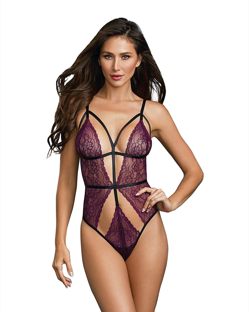 Stretch Lace Teddy with Strappy Detail