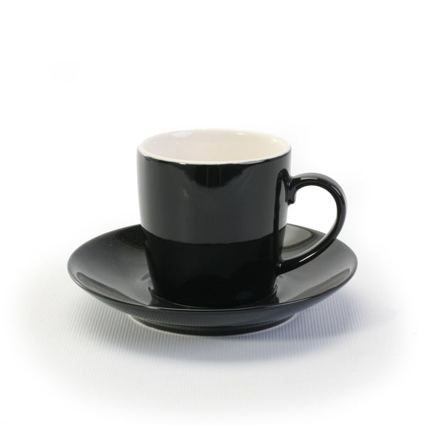 BIA Black Espresso Cup and Saucer Set, 3.5 oz