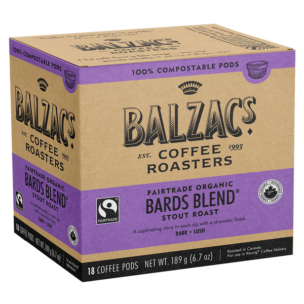 Balzac's Bard's Blend 100% Compostable Keurig® Coffee Pods, 18 Pack