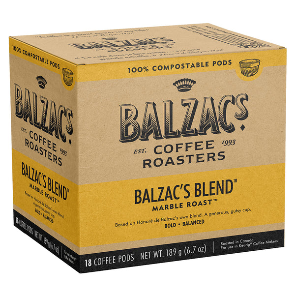 Balzac's Blend 100% Compostable Keurig® Coffee Pods, 18 Pack