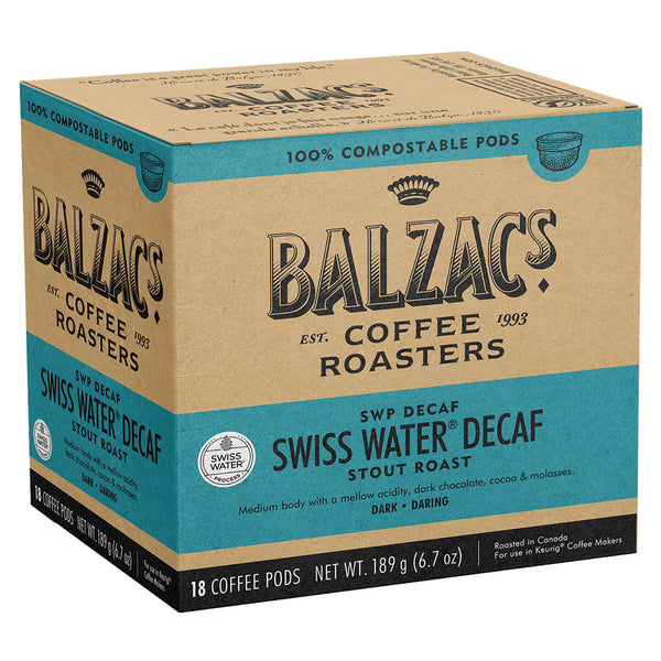 Balzac's SWP Decaf 100% Compostable Keurig® Coffee Pods, 18 Pack