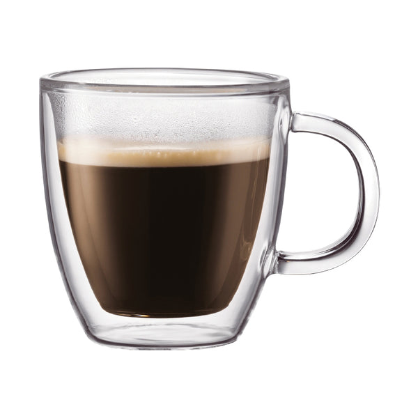 Bodum Bistro Double Wall 10 oz Glass Mug, Set of 2