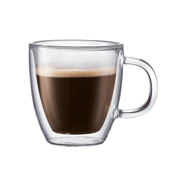 Bodum Bistro Double Wall 5 oz Espresso Glass Mug, Set of 2