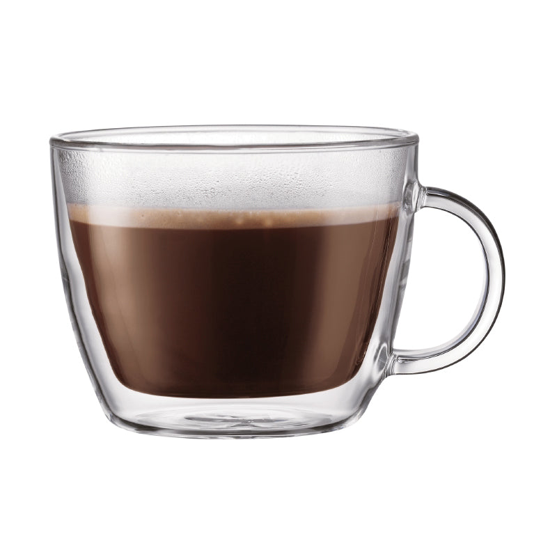Bodum Bistro Double Wall 15.2 oz Latte Glass Mug, Set of 2