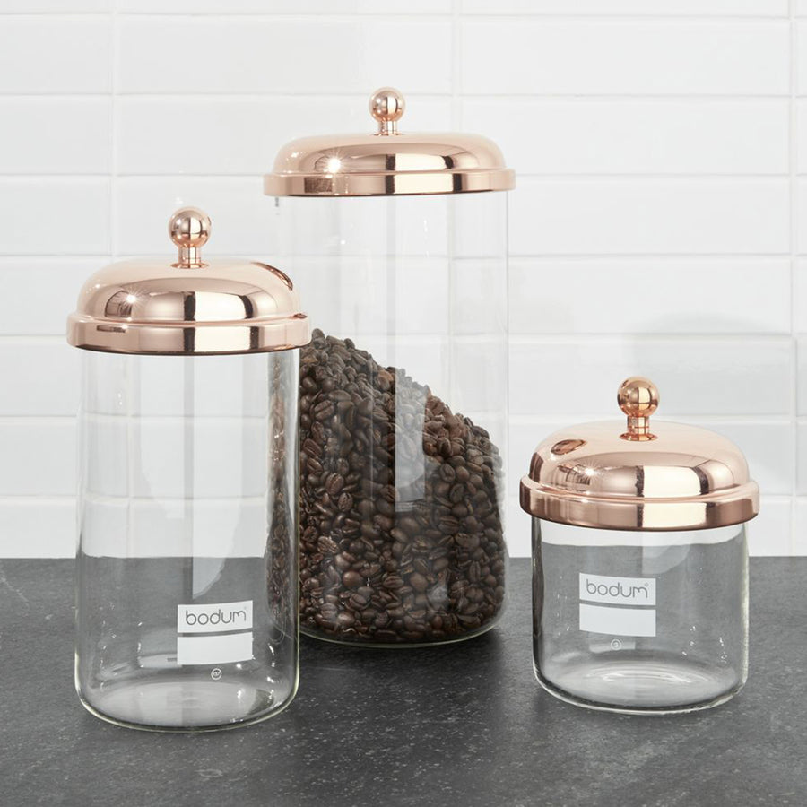 Bodum Chambord Classic Coffee Storage Jar Set of 3 with copper lids