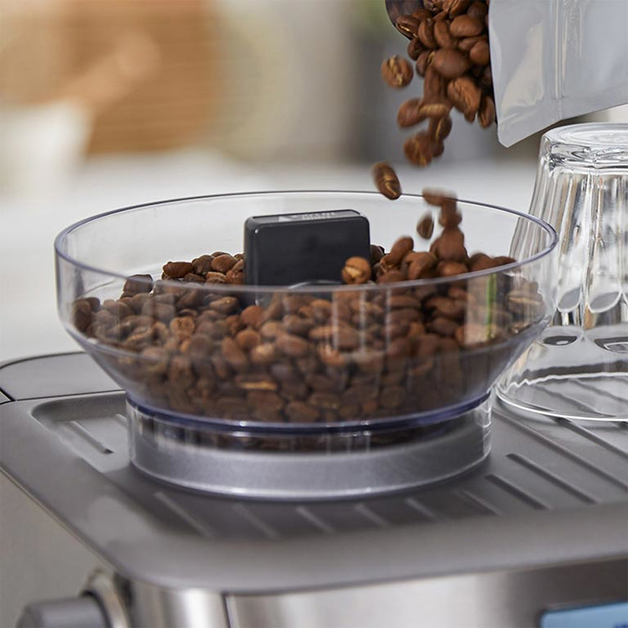 Closeup of the Breville Barista Pro Bean Hopper