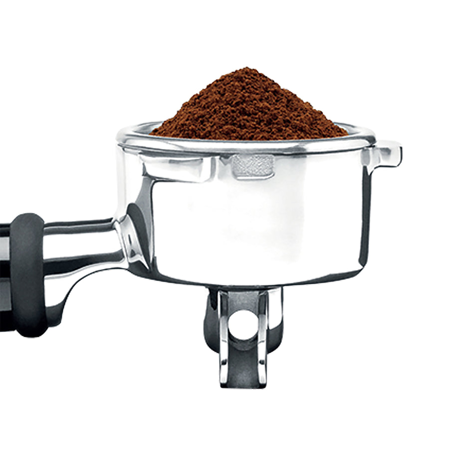 Breville Barista Pro Tamper filled with Ground Espresso