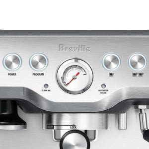 Close up of the Breville Infuser Control Panel Buttons and Pressure Gauge