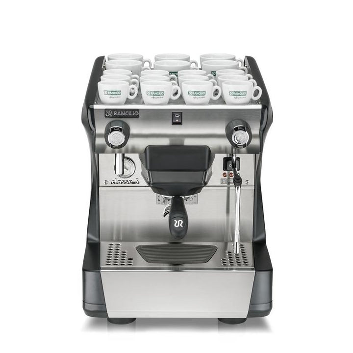 Rancilio Classe 5 S1 Espresso Machine with mugs on warming tray