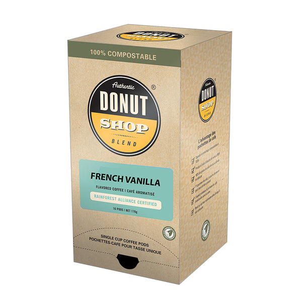 Reunion Island Authentic Donut Shop French Vanilla Coffee Pods, 16 Pack