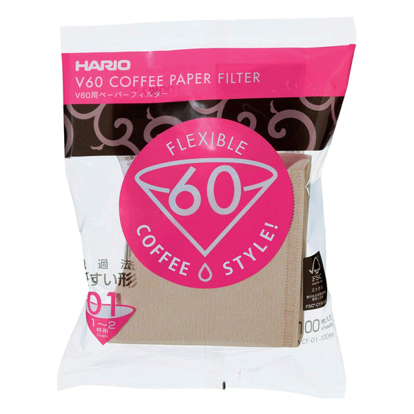 Hario V60 Natural Paper Coffee Filters Size 01, 100 Count