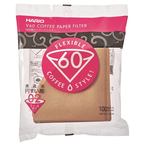 Hario V60 Natural Paper Coffee Filters Size 02, 100 Count