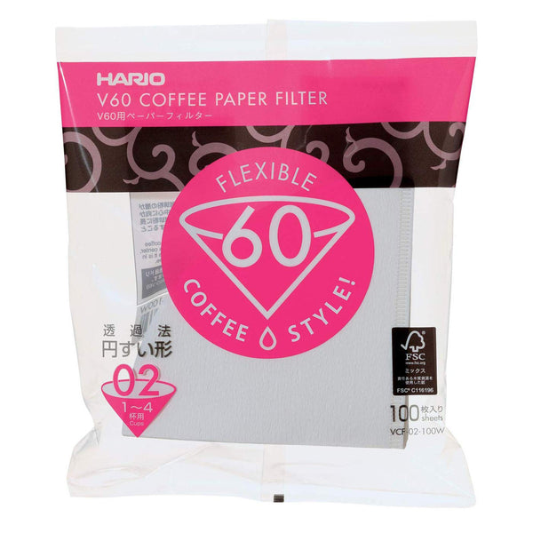 Hario V60 White Tabbed Paper Coffee Filters Size 02, 100 Count