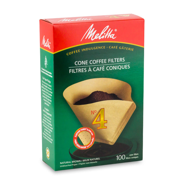 Melitta #4 Cone Filter Paper Natural Brown 100 Count
