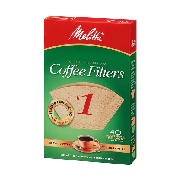 Melitta #1 Natural Brown Super Premium Coffee Filters, 40 Pack