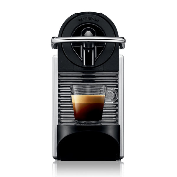 Nespresso Pixie Espresso Maker in Electric Aluminum with Brewed Espresso
