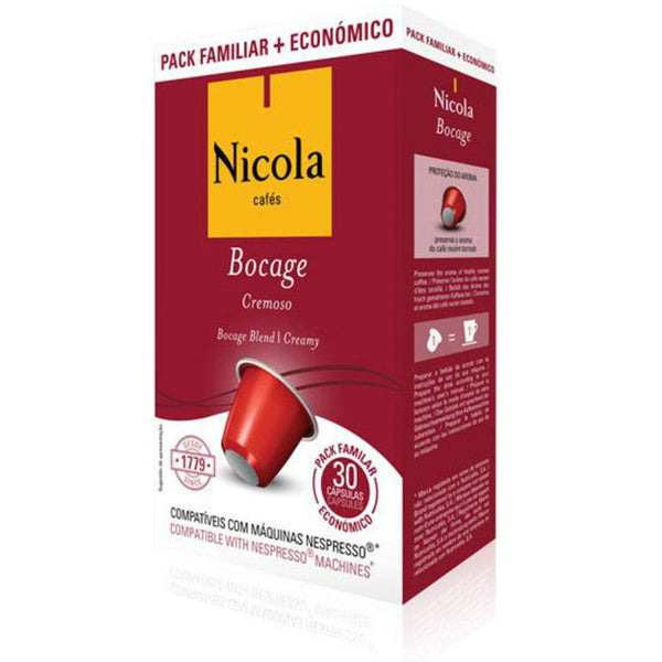 Nicola Cafes Bocage Nespresso Compatible Capsules, 30 Pack