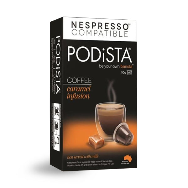 PODiSTA Caramel Infusion Coffee Nespresso Compatible Capsules, 10 Pack