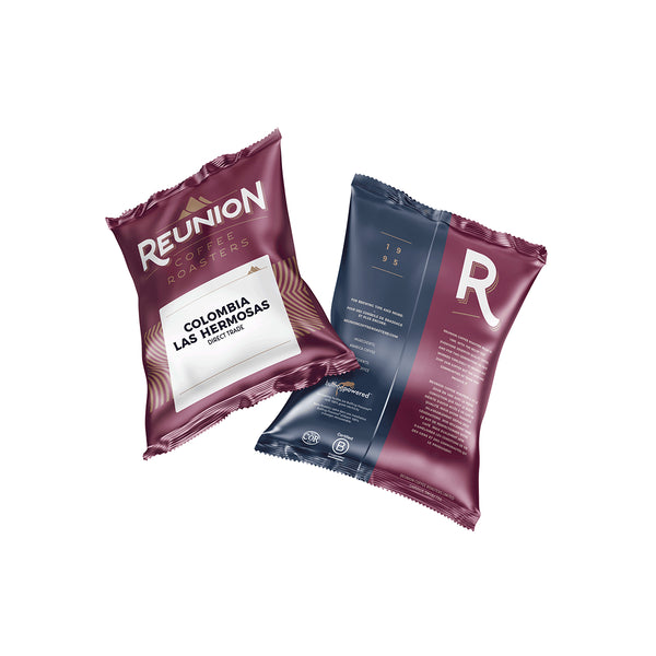 Reunion Coffee Roasters Colombia Las Hermosas Ground Coffee (2.25 oz) 64 Count