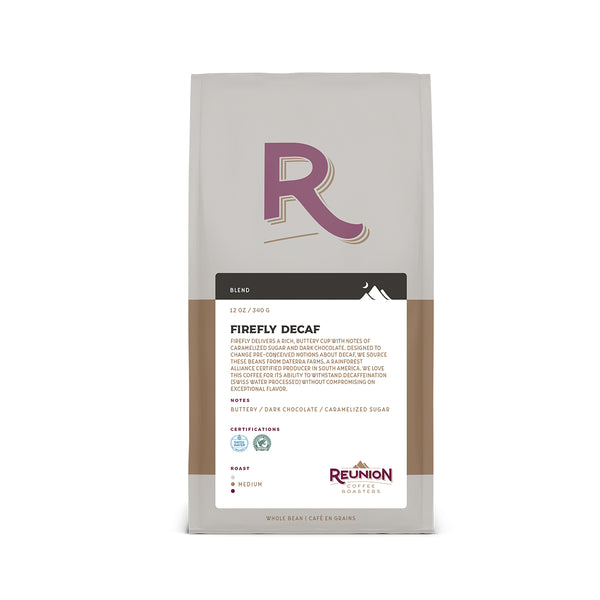 Reunion Coffee Roasters Swiss Water Process Firefly Decaf Whole Bean Coffee 12oz