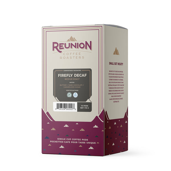 Reunion Coffee Roasters Swiss Water Process Firefly Decaf Pods, 16 Pack