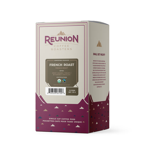 Reunion Coffee Roasters Organic French Roast Coffee Pods, 16 Pack