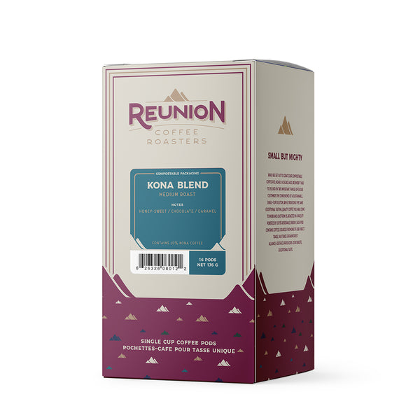 Reunion Coffee Roasters Kona Blend Coffee Pods 16 Pack