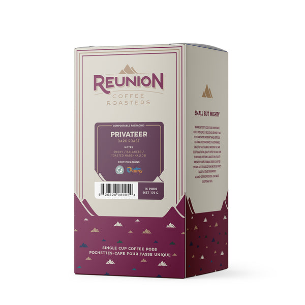 Reunion Coffee Roasters Privateer Dark Coffee Pods 16 Pack
