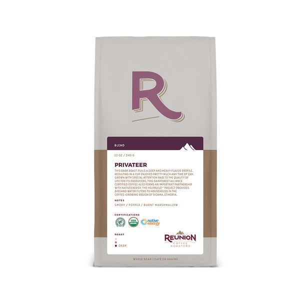 Reunion Coffee Roasters Privateer Dark Whole Bean Coffee 12oz