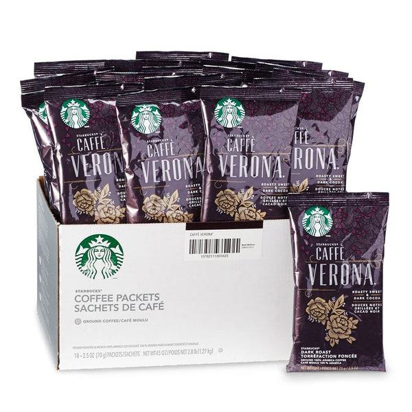 Starbucks Caffe Verona Fraction Pack Ground Coffee (2.5 oz), 18 Pack