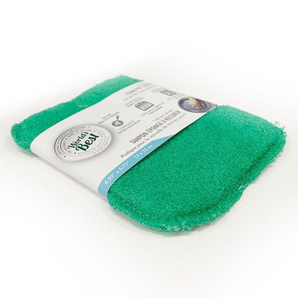 A packaged World's best foam pot scrubber in green