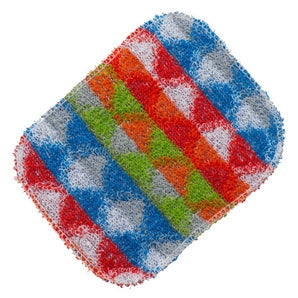 A patterned World's Best Pot Scrubber in green, blue and red, with a triangle shape pattern.
