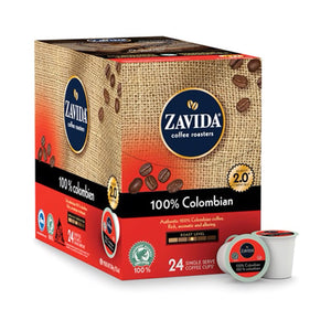 A box of Zavida 100% Colombian single serve coffee k-cups.