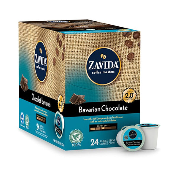 A box of Bavarian Chocolate, Chocolate flavoured single serve coffee k-cups.