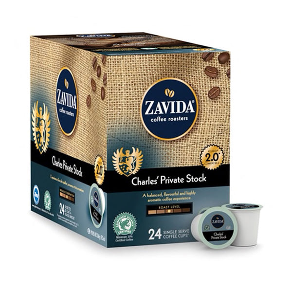 A box of Charles' Private Stock single serve coffee k-cups.