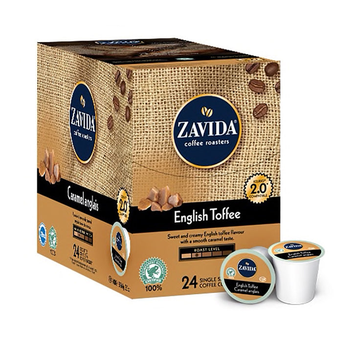 Box of Zavida English Toffee Single Serve Coffee K-Cups.