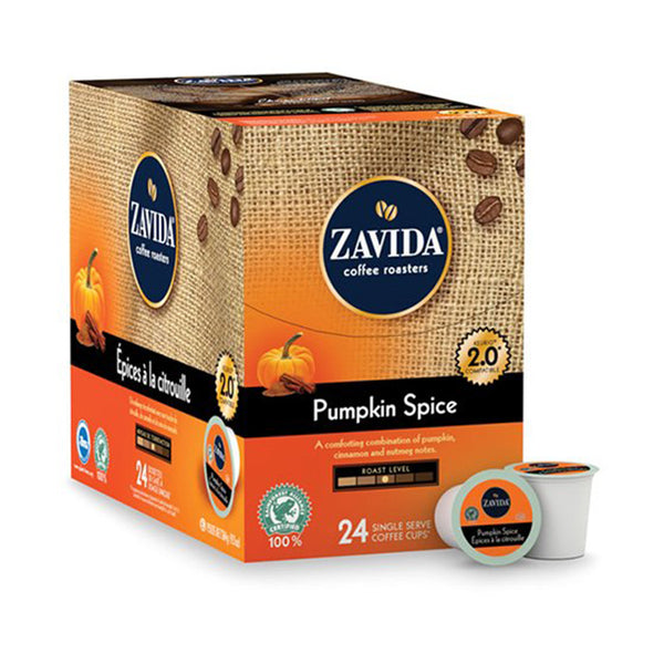 Box of Zavida Pumpkin Spice Single Serve Coffee K-Cups.