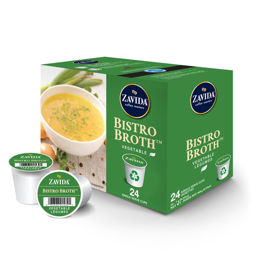 A box of Zavida bistro vegetable broth single serve k-cups