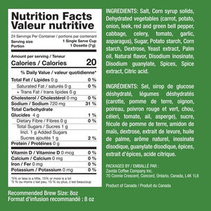 Nutritional facts for the Zavida single serve Vegetable Bistro Broth.