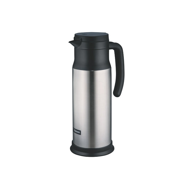 Stainless steel Zojirushi insulated vacuum dairy server, 1 litre capacity.