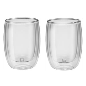 A set of 2 double wall 6.7 ounce coffee glasses without handles.