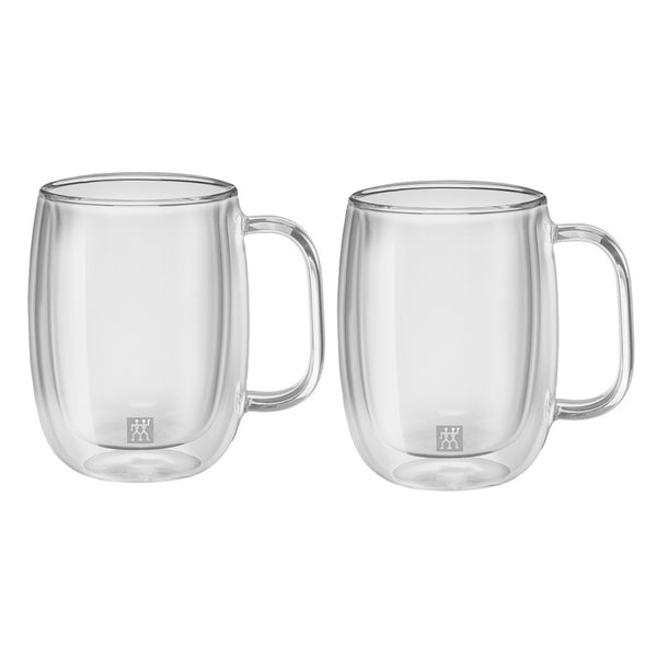 A set of 2 double walled 12 ounce glass coffee mugs with handles, and the Zwilling logo printed on the bottom front.