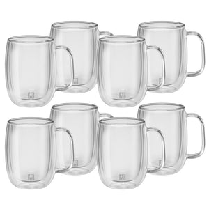 A set of 8 double walled glass 12 ounce coffee mugs with handles, with a small Zwilling logo printed on the front