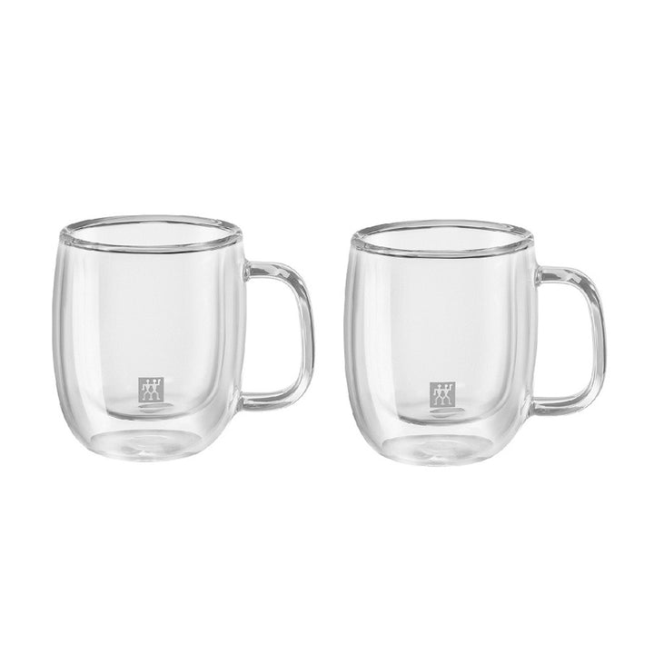 A set of 2 small double walled 2.7 ounce espresso glasses with handles, and the Zwilling logo printed on the front.
