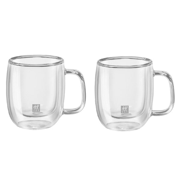 A set of 2 small double walled 4.5 ounce espresso mugs with handles, with the Zwilling logo printed on the front.
