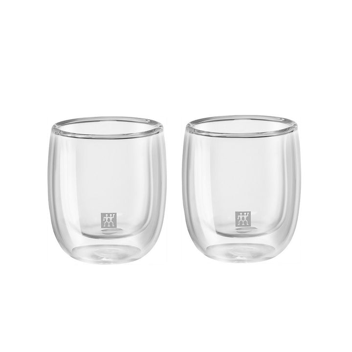 A set of 2 small double wall 2.7 ounce espresso glasses without handle.