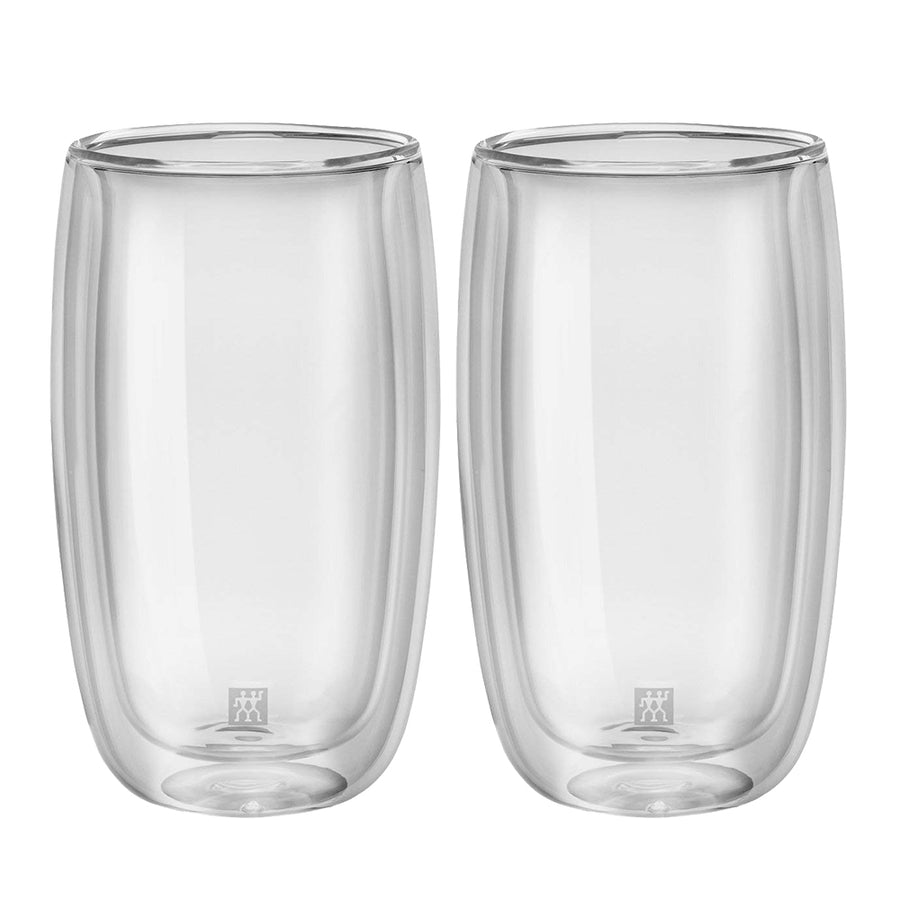 A set of 2 tall double walled 11.8 ounce latte glasses.