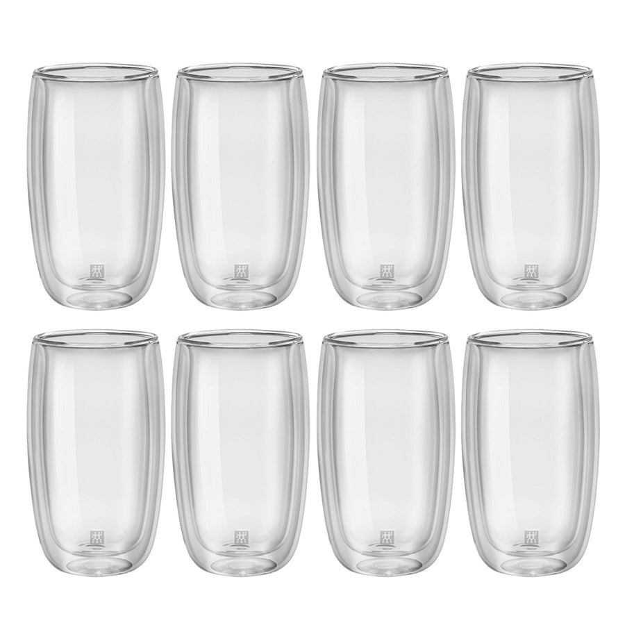 A set of 8 tall double walled 11.8 ounce latte glasses without handle.