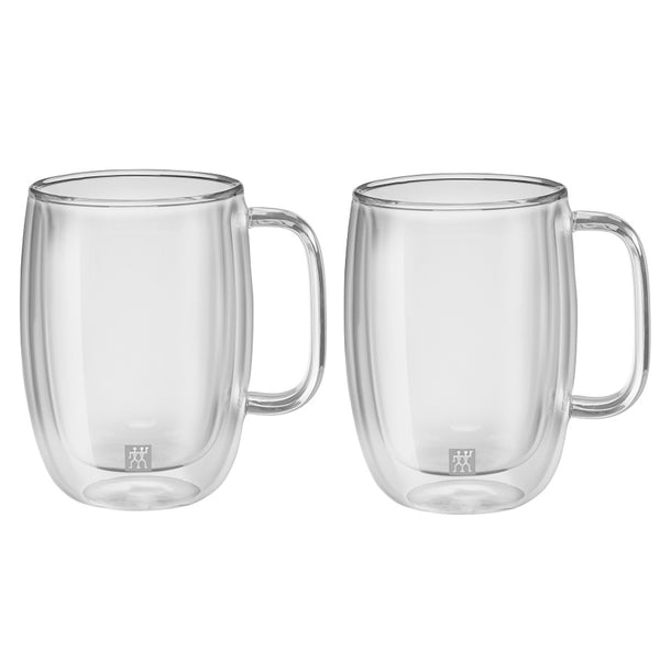 A set of 2 glass double walled latte macchiato 15 ounce cups with the Zwilling logo printed on the front.