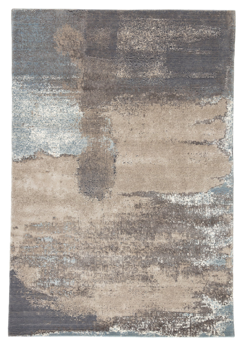 "Ionian Abstract Gray/Blue Area Rug (9' 0"" x 12' 6"")"